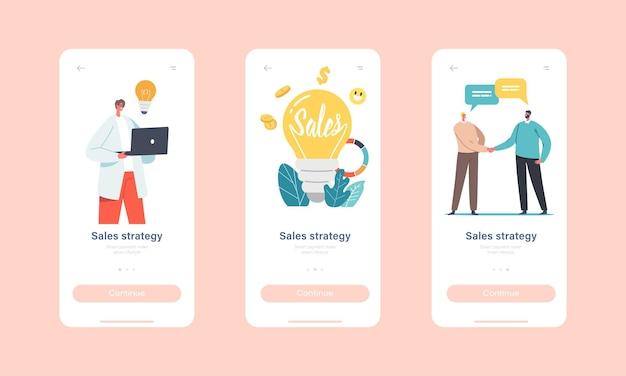 Strategie sprzedaży szablon ekranu aplikacji mobilnej na pokładzie. małe biznesmeni i postacie przedsiębiorców w ogromnej żarówki, statystyki biznesowe lub koncepcja analizy. ilustracja wektorowa kreskówka ludzie