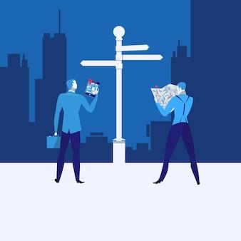 Strategii biznesowej pojęcia wektorowa ilustracja w mieszkanie stylu