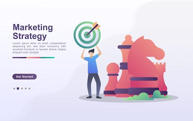 Strategii marketingowej ilustracyjny pojęcie z malutkimi ludźmi. ludzie celują i rozwijają strategie biznesowe.