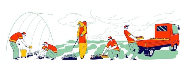 Strawberry farm workers dbają, zbierają i ładują świeże jagody do dystrybucji. postacie imigrantów lub wolontariuszy nawożenie i uprawa truskawek na polu. ilustracja wektorowa ludzi liniowych