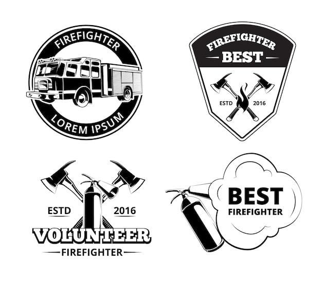 Straż pożarna, strażak etykiety i odznaki wektor zestaw. symbole ochrony przeciwpożarowej
