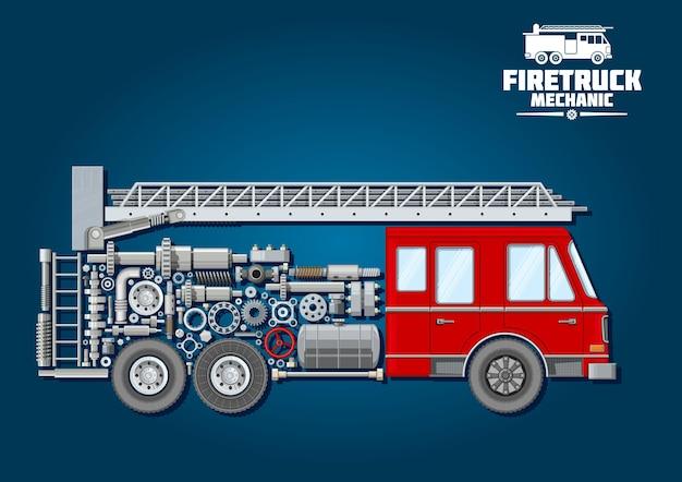 Strażacki symbol mechaniki wozu strażackiego z czerwoną kabiną