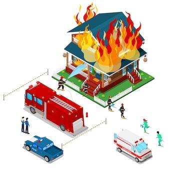 Strażacy gasią pożar w izometrycznym mieście domu. strażak pomaga poszkodowanej kobiecie.