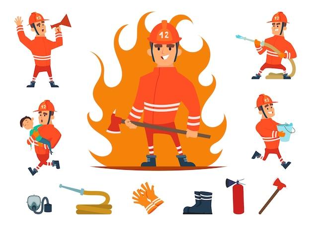 Strażacy i sprzęt. zawód strażaka działa. kreskówka narzędzia, dzieci i ogień, wąż i hydrant na białym tle zestaw.