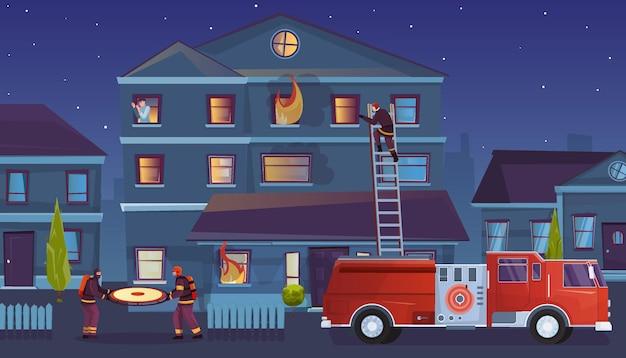 Strażacy płaska kompozycja z ilustracją plenerowego krajobrazu miejskiego