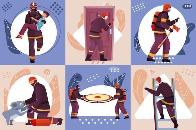 Strażacy projekt koncepcji zestaw ilustracji