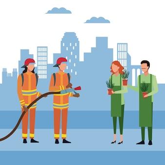 Strażacy w mieście