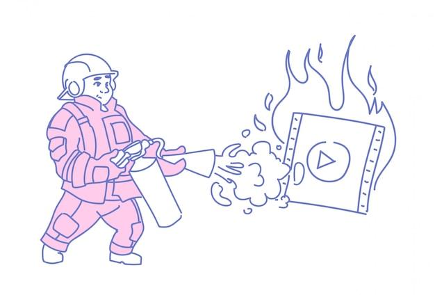 Strażak gaszący płonący odtwarzacz wideo media online streaming filmu film