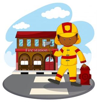 Strażak i remiza strażacka