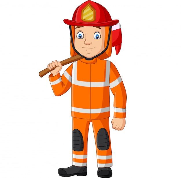 Strażak kreskówka trzymając siekierę