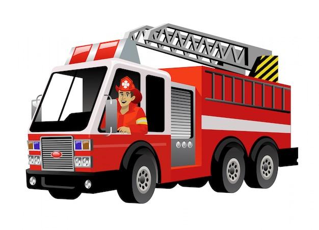 Strażak prowadzący samochód strażacki