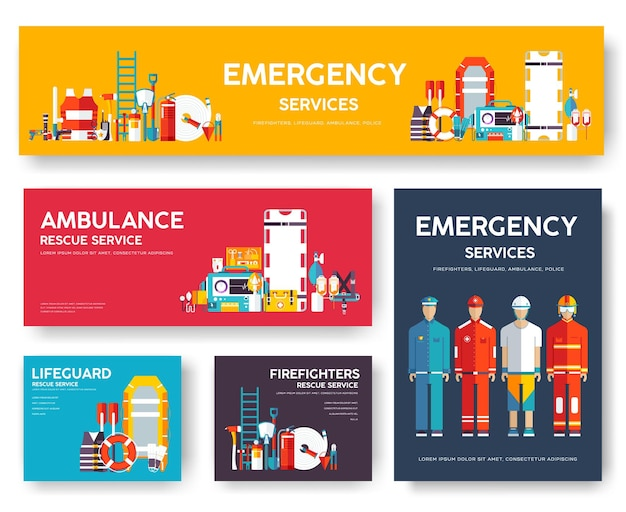 Strażak, rafting, policja, zestaw szablonów kart ratowniczych medycyny. latarki, magazyny.