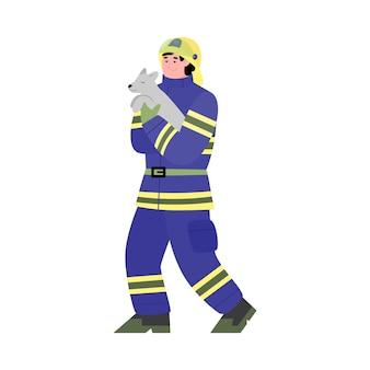 Strażak ratujący dzikie zwierzęta płaskie kreskówka wektor ilustracja na białym tle