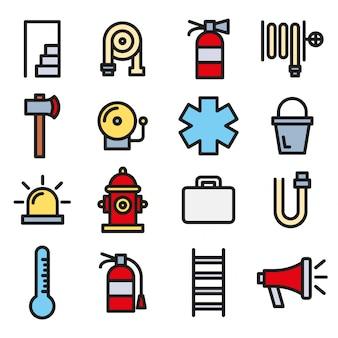 Strażak, straż pożarna i zestaw ikon awaryjne