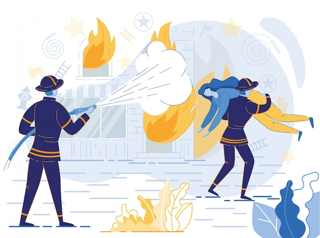 Strażak trzyma wąż, gaszenie ognia