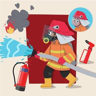 Strażak w masce urocza postać 2d gotowa do animacji wraz z narzędziami do pracy