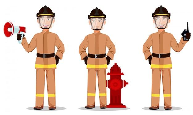 Strażak w profesjonalnym mundurze