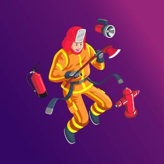 Strażak ze swoim sprzętem bezpieczeństwa.
