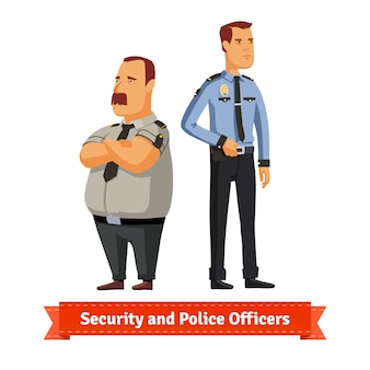 Strażnicy i oficerowie policji stoją