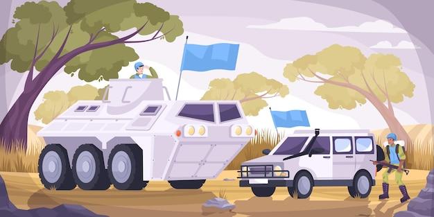 Strażnicy pokoju przewożą płaską i kolorową kompozycję dwa pojazdy wojskowe z ilustracjami niebieskich flag