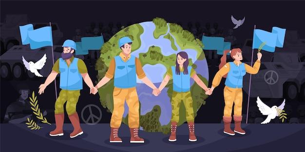 Strażnicy pokoju ziemia płaska kompozycja ludzie w kombinezonach strzegących ziemi