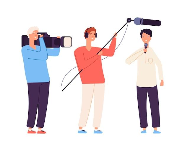 Streamer na żywo. wiadomości, dziennikarz telewizyjny. zdjęcia do programu telewizyjnego lub wywiadu
