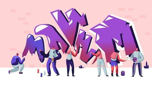 Street artist teenagers maluje graffiti na ścianie z cegły. moda miejska, styl życia nastolatków, twórcze hobby młodych ludzi