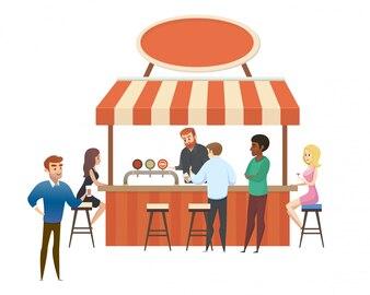 Street Cafe, lokalny bar z odwiedzających Flat Vector