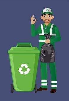 Street cleaner z inną pozą