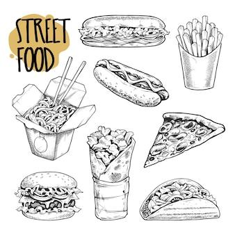 Street food ilustracje wektor zestaw.