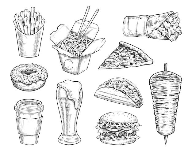 Street food retro ilustracje wektor zestaw czarno-białe ikony stylu grawerowania