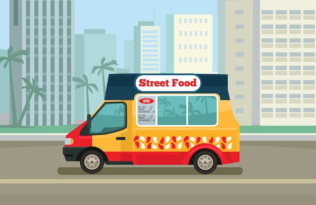 Street food truck. płaskie ilustracji wektorowych