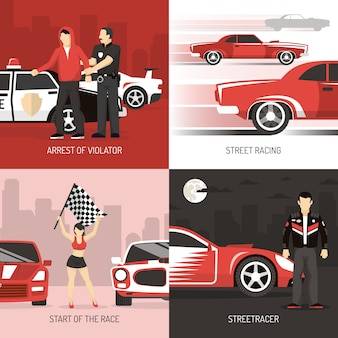 Street racing concept tła z postaciami