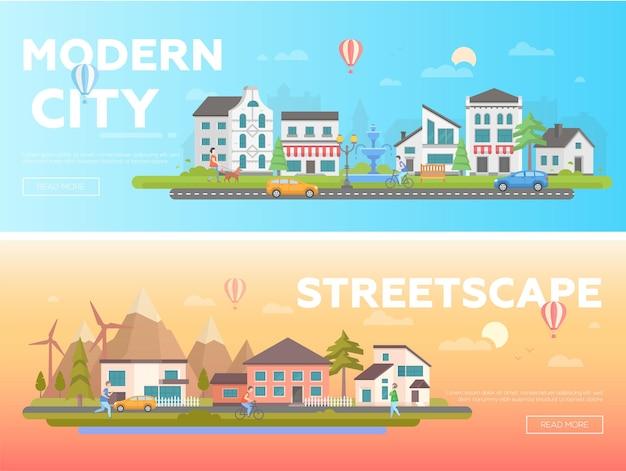 Streetscape - zestaw nowoczesnych ilustracji wektorowych płaski z miejscem na tekst na pomarańczowym i niebieskim tle. dwa warianty krajobrazu miejskiego z budynkami, aktywnymi ludźmi, fontannami, kościołem, wzgórzami, samochodami