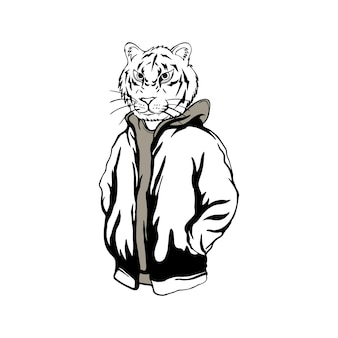Streetwearowa głowa tygrysa czarno-biała