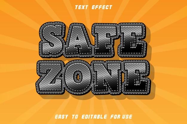 Strefa bezpieczna edytowalny efekt tekstowy wytłoczony styl komiksowy