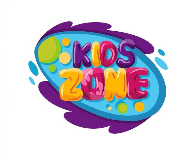 Strefa dla dzieci. plac zabaw dla dzieci pokój gier lub emblemat centrum.