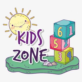 Strefa dla dzieci z kostkami i słońcem