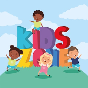 Strefa dla dzieci z międzyrasową grupą dzieci w terenie