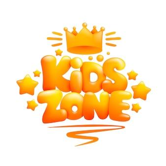 Strefa dzieci znak 3d kreskówka tekst z koroną
