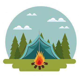 Strefa kempingowa z namiotem i ogniskiem