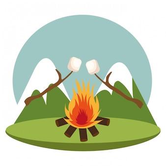 Strefa kempingowa z ogniskiem