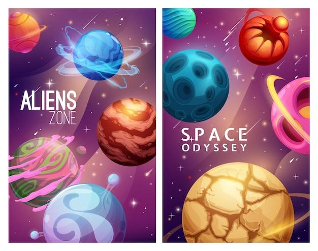 Strefa obcych i kosmiczna odyseja. planety galaktyki z kreskówek