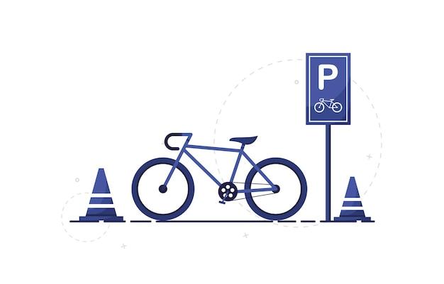 Strefa parkowania rowerów miejskich ze znakami drogowymi w płaskiej konstrukcji