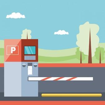 Strefa parkowania z automatem biletowym i sceną barykady