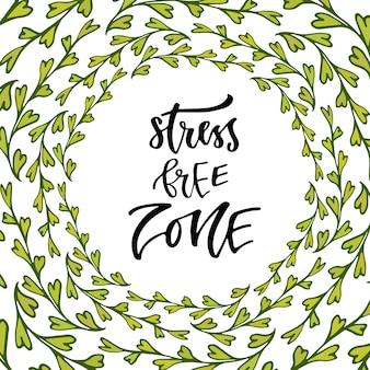 Strefa wolna od stresu. strony napis kaligrafii. inspirujące zdanie. ilustracja wektorowa do projektowania druku