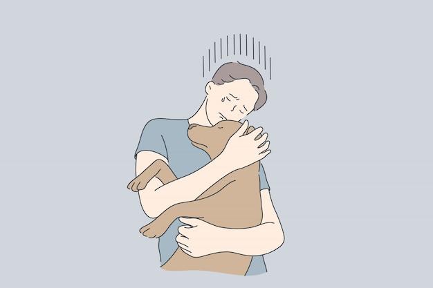 Stres, depresja, frustracja, uścisk, zwierzę, koncepcja pomocy