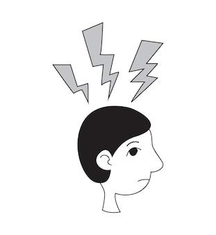 Stres i problemy psychologiczne wektor ikona profil płaski styl linii człowieka