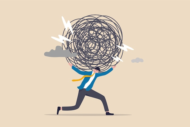 Stres, niepokój związany z trudnościami w pracy i przeciążeniem.