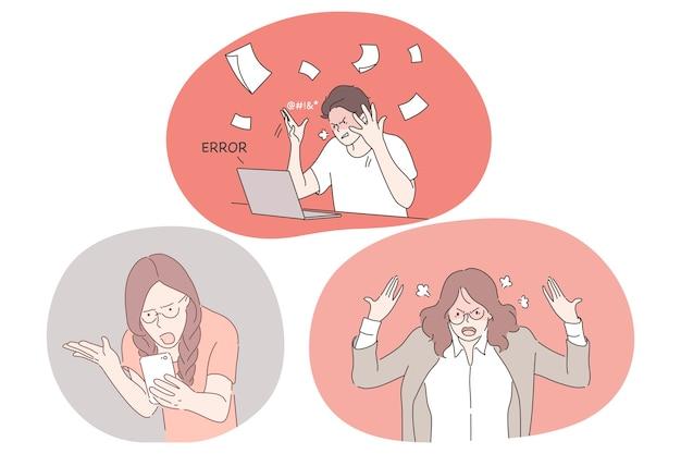 Stres, przepracowanie, koncepcja przeciążenia. nieszczęśliwi, przygnębieni gniewni młodzi ludzie pracownicy biurowi uczucie